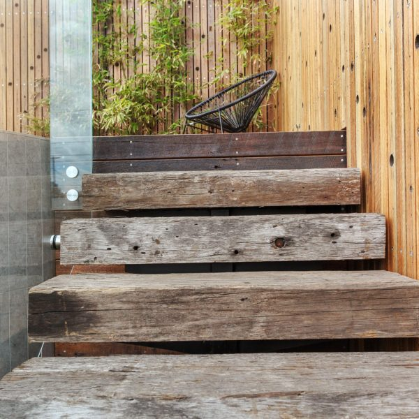 Timber Steps Outside Pool