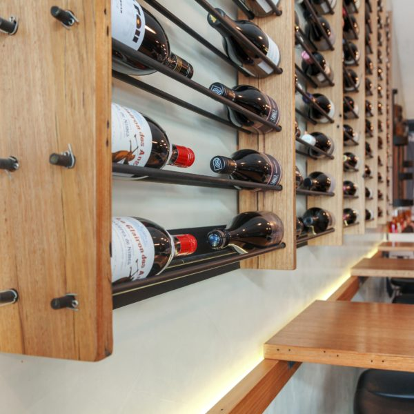 Timber Shelves In Bar